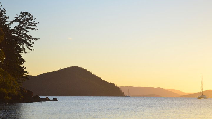 Whitsunday islands at sunset
