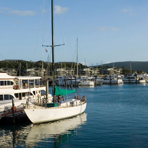 An array of yachts and motor cruisers berthed at the jetties of Hamilton Island marina