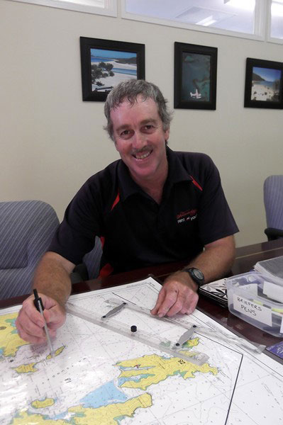 Briefer and relief operations manager Ian Wells at the Whitsunday Rent A Yacht charter base