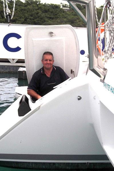 Head mechanic Steve Miller on board a Whitsunday Rent A Yacht charter vessel