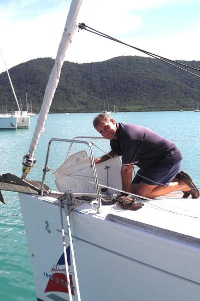 Head mechanic Steve Miller on board a Whitsunday Rent A Yacht charter yacht