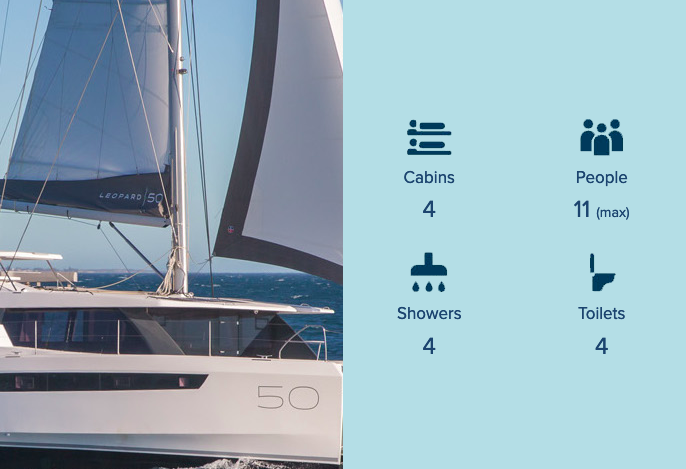 Catamaran hire whitsundays Leopard 50