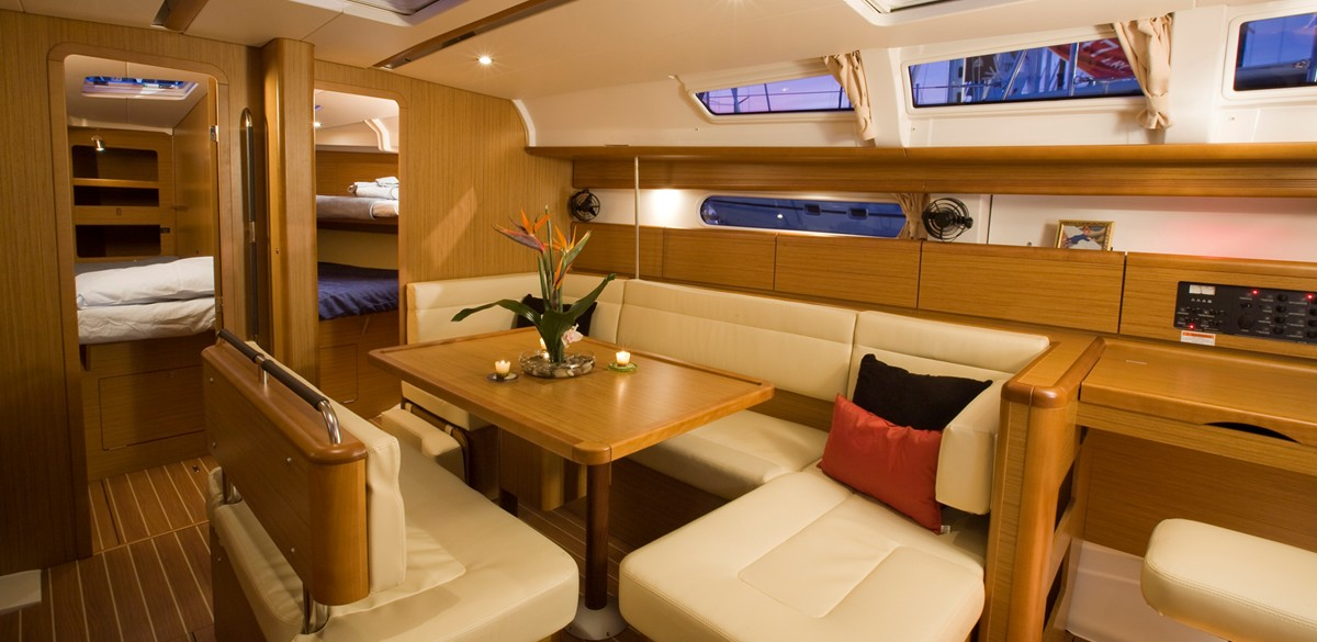 The Jeanneau 44 yacht is spacious and finished in teak
