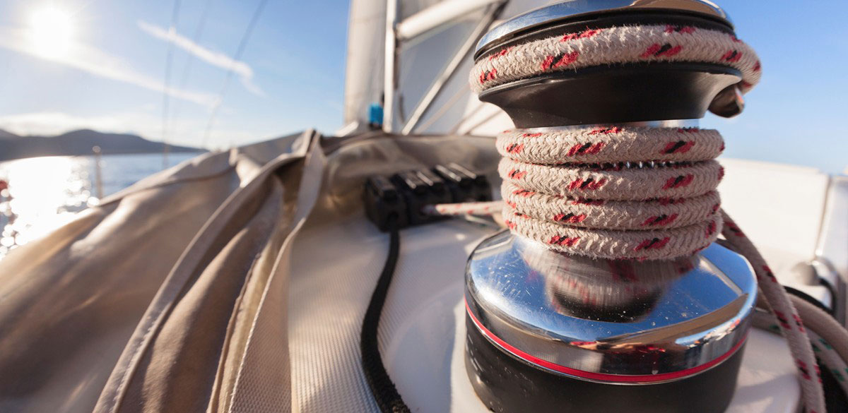 Rope winch and deck beyond of a Whitsunday Rent A Yacht charter yacht