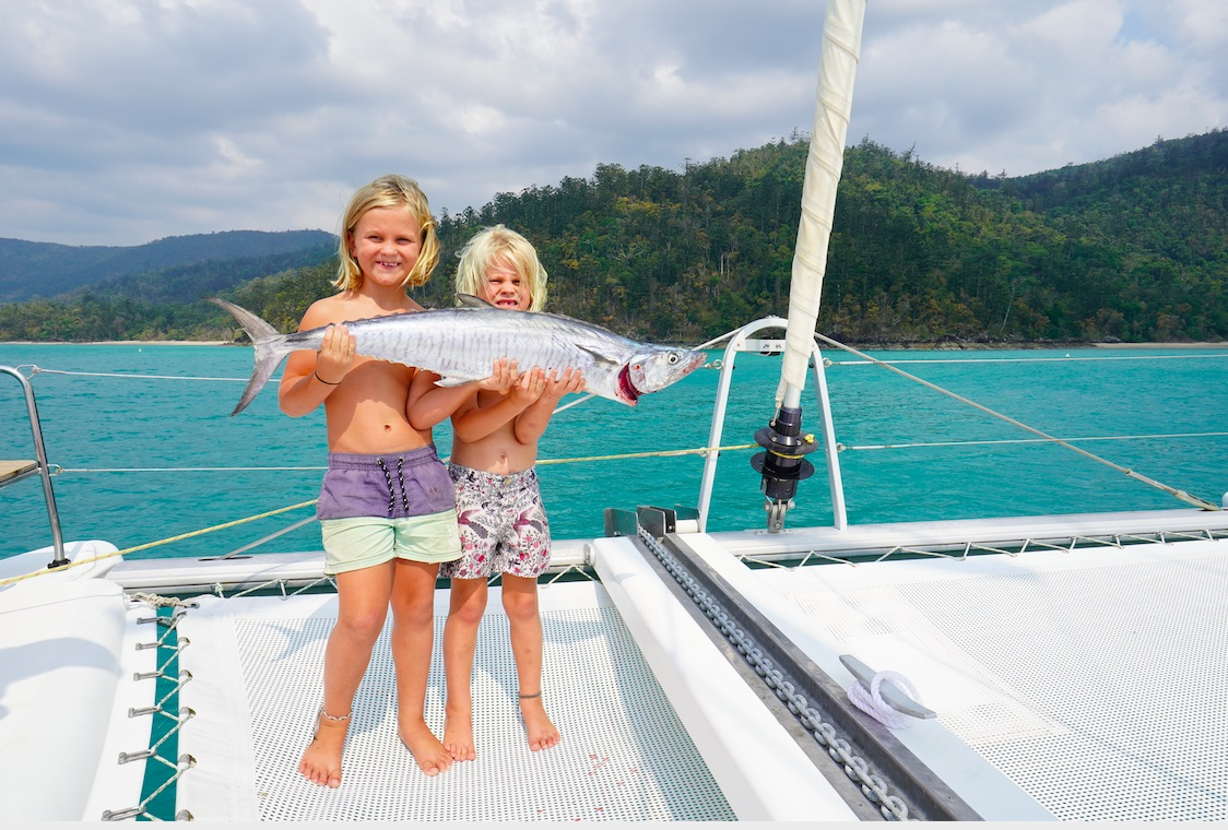 Fishing kids Whitsundays bareboat