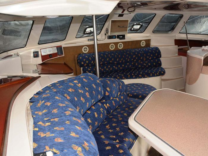 Sailing the Conquest 44 power catamaran