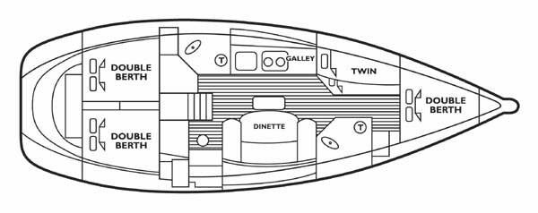 Beneteau 43.4 yacht floor plan