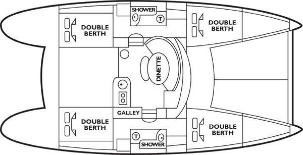 Beneteau Lagoon 380 catamaran floor plan