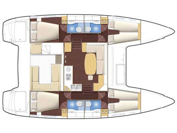 Beneteau Lagoon 400 catamaran floor plan