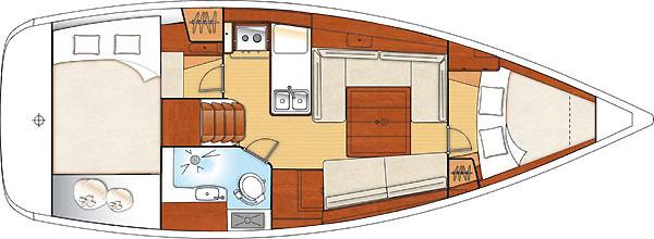 Beneteau Oceanis 34 yacht floor plan