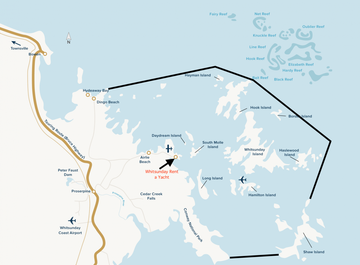 Whitsunday Islands Cruising Area Map
