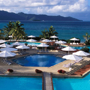 View of pools and surrounding decks at One&Only Hayman Island resort