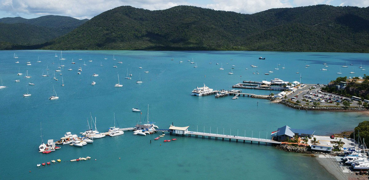 View across Shute Harbour overlooking the Whitsunday Rent A Yacht charter base